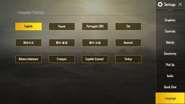 Выбор языка в PUBG mobile